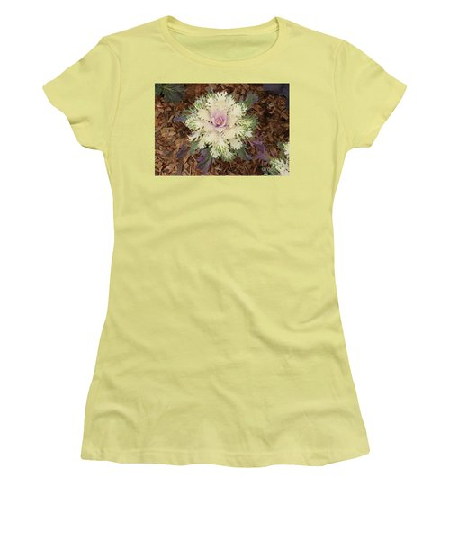 Cabbage Rose Women's T-Shirt (Junior Cut) by Victoria Harrington