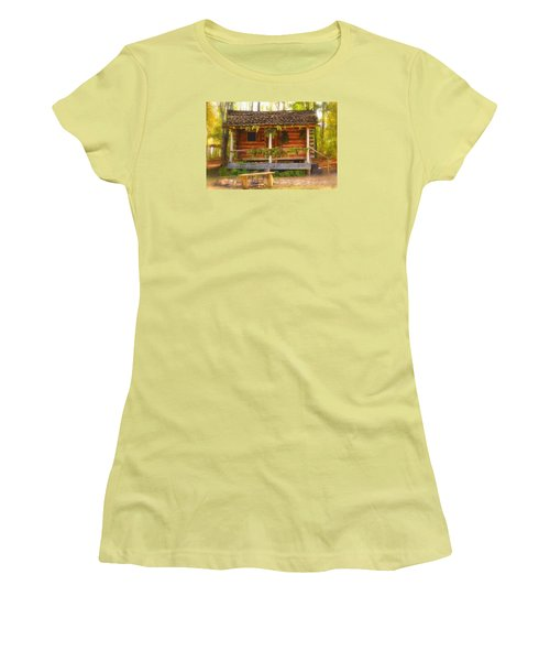 Women's T-Shirt (Junior Cut) featuring the photograph Cabin Christmas by Nadalyn Larsen