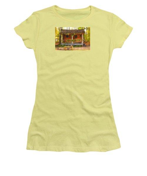 Cabin Christmas Women's T-Shirt (Junior Cut) by Nadalyn Larsen