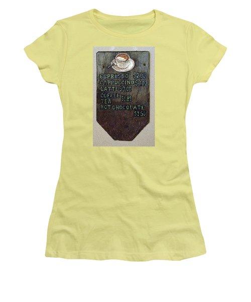 Cafe Sign On Slate Women's T-Shirt (Junior Cut) by Joyce  Wasser