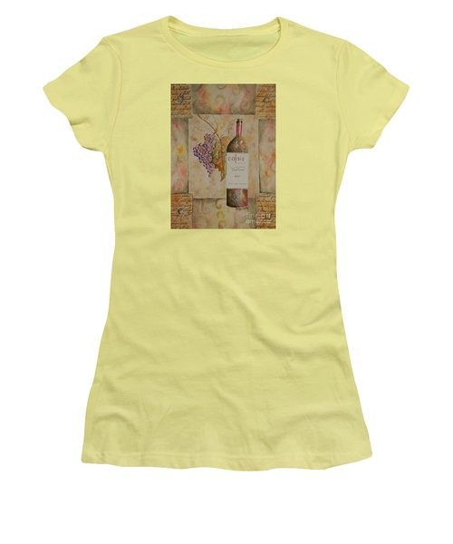 Women's T-Shirt (Junior Cut) featuring the painting Calais Vineyard by Tamyra Crossley