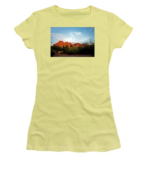 Camelback Mountain And Moon Women's T-Shirt (Athletic Fit)