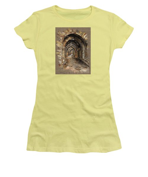 Women's T-Shirt (Junior Cut) featuring the painting Camelot -  The Way To Ancient Times - Elena Yakubovich by Elena Yakubovich