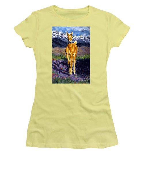 Candy Rocky Mountain Palomino Colt Women's T-Shirt (Junior Cut) by Jackie Carpenter