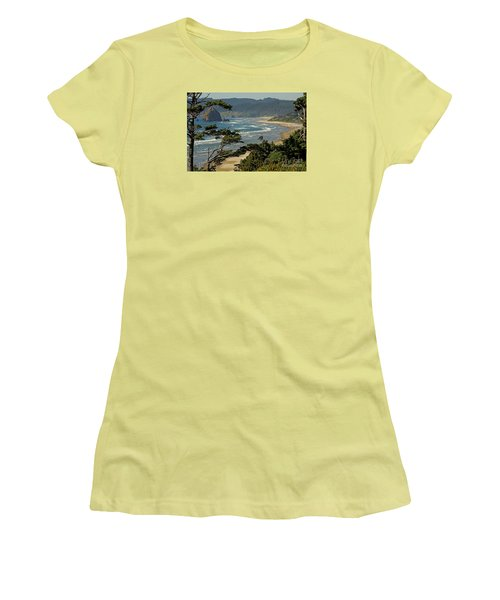 Women's T-Shirt (Junior Cut) featuring the photograph Cannon Beach Seascape by Nick  Boren