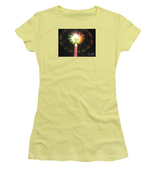 Carnival Ride At Night Women's T-Shirt (Junior Cut) by Connie Fox