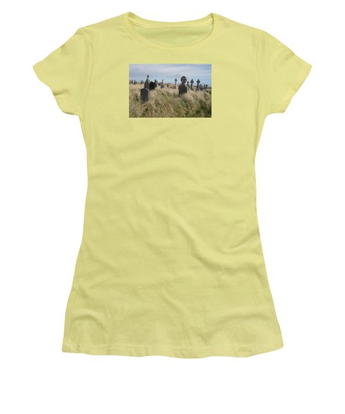 Celtic Crosses Aran Island Cemetary Women's T-Shirt (Junior Cut) by Melinda Saminski