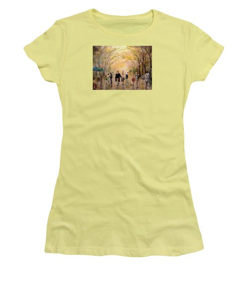 Women's T-Shirt (Junior Cut) featuring the painting Central Park Early Spring by Alan Lakin