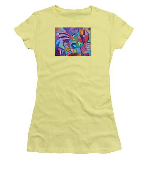 Women's T-Shirt (Junior Cut) featuring the painting Cerebral Decor # 2 by Jason Williamson
