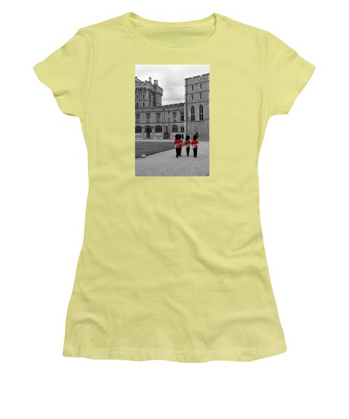 Women's T-Shirt (Junior Cut) featuring the photograph Changing Of The Guard At Windsor Castle by Lisa Knechtel