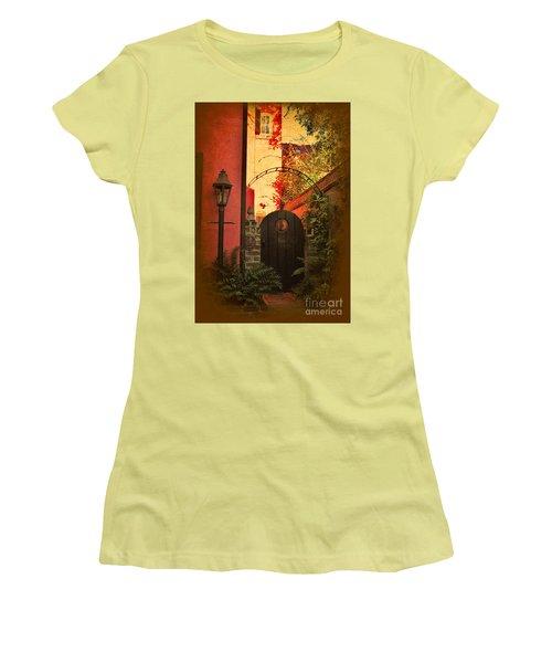 Women's T-Shirt (Junior Cut) featuring the photograph Charleston Garden Entrance by Kathy Baccari