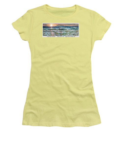 Women's T-Shirt (Junior Cut) featuring the painting Chasing Chatham Beach Sunsets by Rita Brown