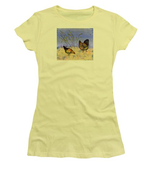 Chickens On Silk Women's T-Shirt (Athletic Fit)