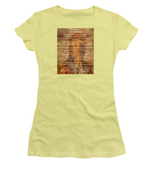 Chief Tecumseh Poem Women's T-Shirt (Junior Cut) by Dan Sproul