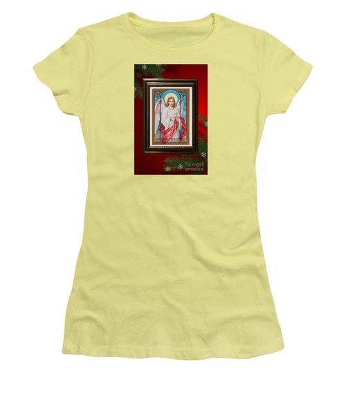 Women's T-Shirt (Junior Cut) featuring the digital art Christmas Angel Art Prints Or Cards by Valerie Garner