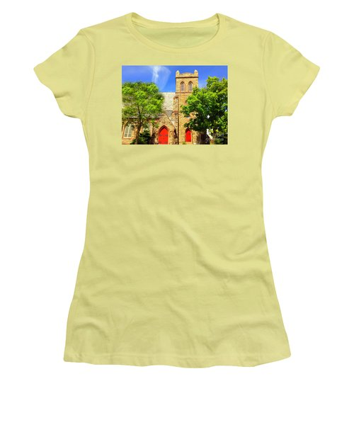 Women's T-Shirt (Junior Cut) featuring the photograph Church And Red Doors by Becky Lupe