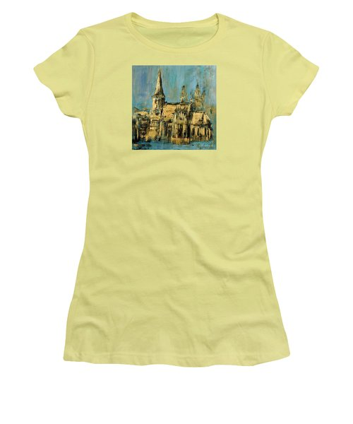 Women's T-Shirt (Junior Cut) featuring the painting Church by Arturas Slapsys