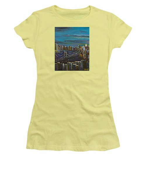 Women's T-Shirt (Junior Cut) featuring the painting Citiscape by Donna Blossom