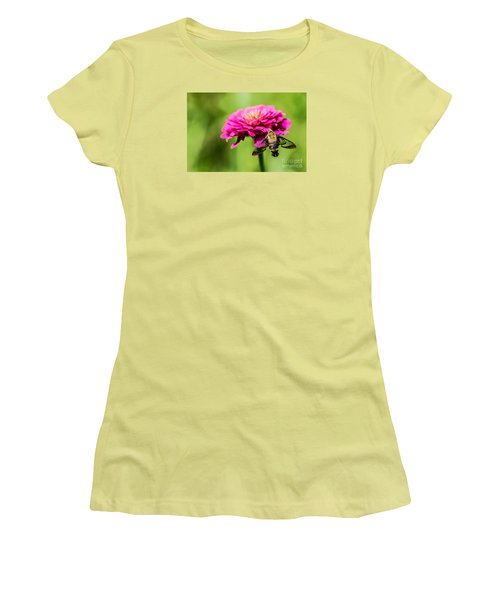Clearwing Moth Women's T-Shirt (Junior Cut) by Debbie Green