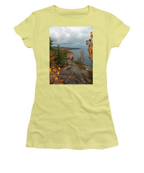 Women's T-Shirt (Junior Cut) featuring the photograph Cliffside Fall Splendor by James Peterson