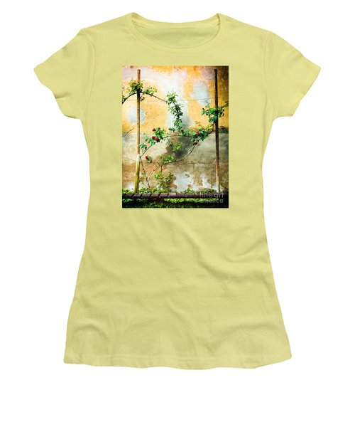 Women's T-Shirt (Junior Cut) featuring the photograph Climbing Rose Plant by Silvia Ganora