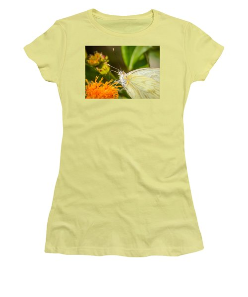 Women's T-Shirt (Junior Cut) featuring the photograph Butterfly Attracted To Mexican Flame by Debra Martz