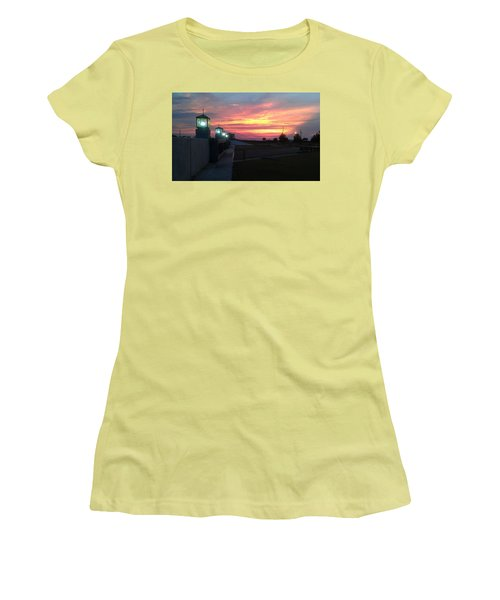 Closed Flood Gates Sunset Women's T-Shirt (Athletic Fit)
