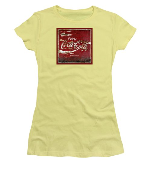 Coca Cola Red Grunge Sign Women's T-Shirt (Junior Cut) by John Stephens