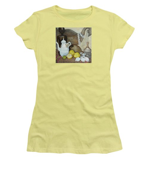 Women's T-Shirt (Junior Cut) featuring the painting Coffee Pot by Helen Syron