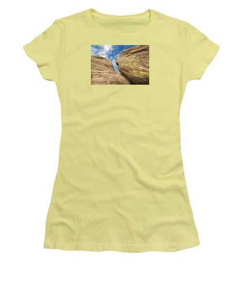 Women's T-Shirt (Junior Cut) featuring the painting Colby's Cliff by Bruce Nutting