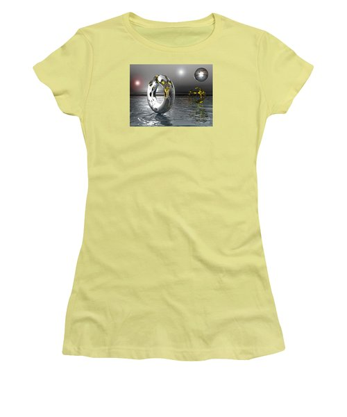 Women's T-Shirt (Junior Cut) featuring the digital art Cold Steele by Jacqueline Lloyd