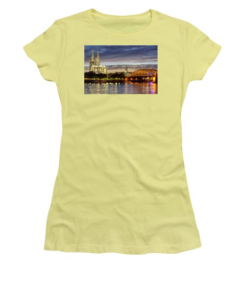 Cologne Cathedral With Rhine Riverside Women's T-Shirt (Junior Cut) by Heiko Koehrer-Wagner