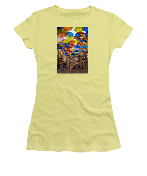 Colorful Floating Umbrellas Women's T-Shirt (Junior Cut) by Marco Oliveira