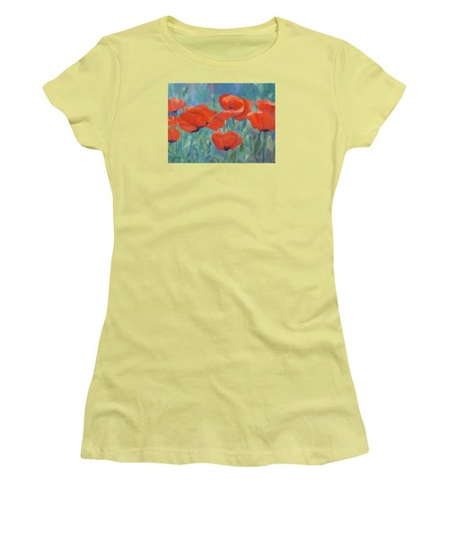 Colorful Flowers Red Poppies Beautiful Floral Art Women's T-Shirt (Junior Cut) by Elizabeth Sawyer