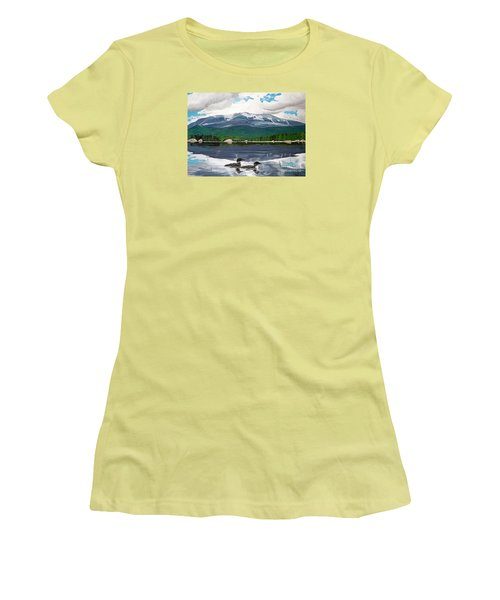 Common Loon On Togue Pond By Mount Katahdin Women's T-Shirt (Athletic Fit)