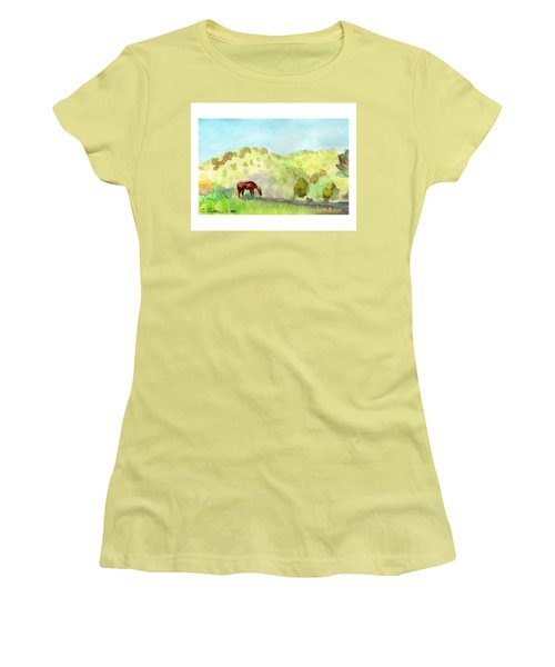 Women's T-Shirt (Junior Cut) featuring the painting Cool Drink by C Sitton