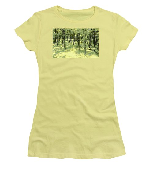 Women's T-Shirt (Junior Cut) featuring the photograph Copse Of Trees Sunlight by Tom Wurl
