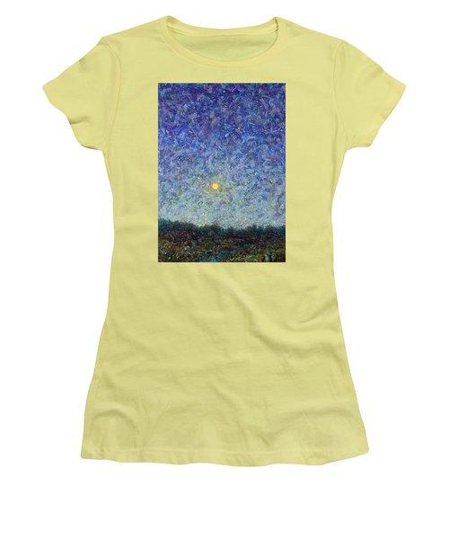 Women's T-Shirt (Junior Cut) featuring the painting Cornbread Moon by James W Johnson