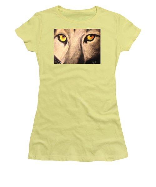 Cougar Eyes Women's T-Shirt (Junior Cut) by Renee Michelle Wenker