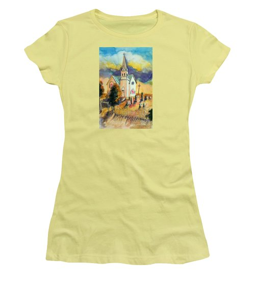 Women's T-Shirt (Junior Cut) featuring the painting Country Church At Sunset by Kathy Braud