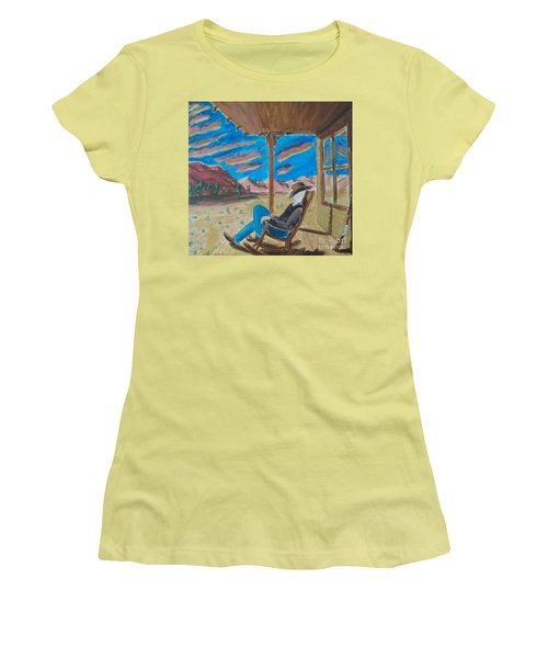 Cowboy Sitting In Chair At Sundown Women's T-Shirt (Athletic Fit)