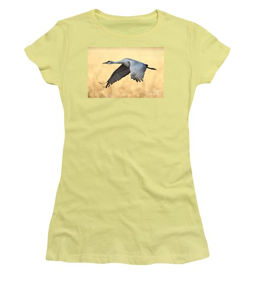 Crane Over Golden Field Women's T-Shirt (Athletic Fit)