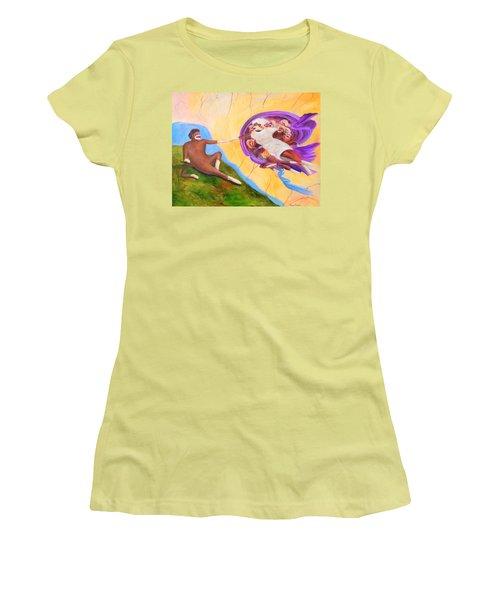 Creation Of A Sock Monkey Women's T-Shirt (Junior Cut) by Randy Burns
