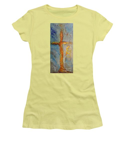 Women's T-Shirt (Junior Cut) featuring the painting Cross Of Endless Love by Ella Kaye Dickey