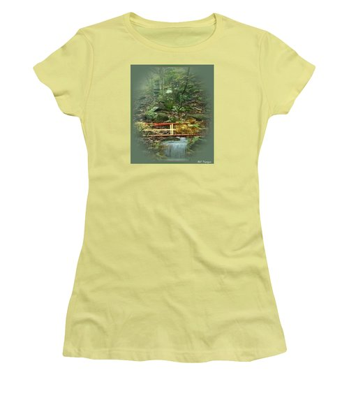Women's T-Shirt (Junior Cut) featuring the mixed media A Bridge To Cross by Ray Tapajna