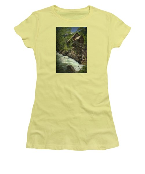 Women's T-Shirt (Junior Cut) featuring the photograph Crystal Mill by Priscilla Burgers