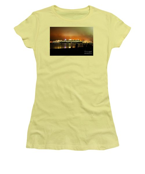 Women's T-Shirt (Junior Cut) featuring the photograph Cunard's 3 Queens by Terri Waters