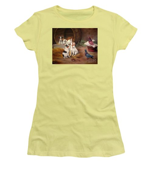 Women's T-Shirt (Junior Cut) featuring the painting Curious Friends by Hazel Holland
