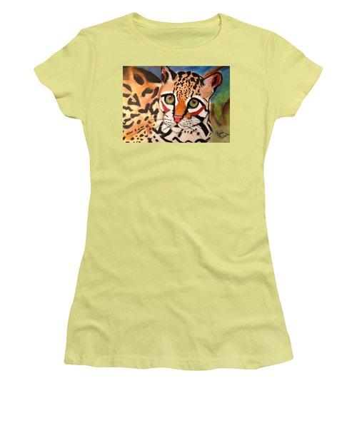 Curious Ocelot Women's T-Shirt (Junior Cut) by Renee Michelle Wenker