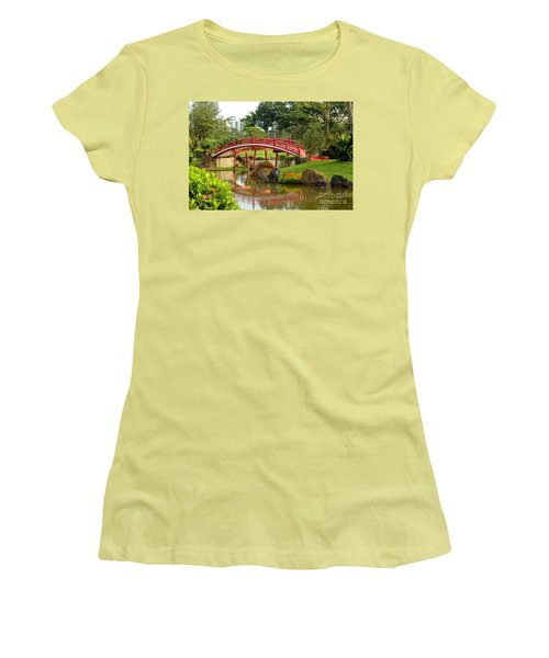 Women's T-Shirt (Junior Cut) featuring the photograph Curved Red Japanese Bridge And Stream Chinese Gardens Singapore by Imran Ahmed